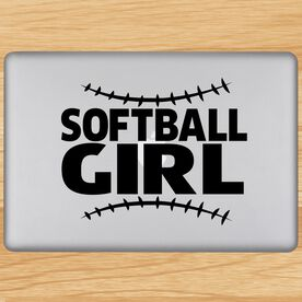 Softball Girl with Stitches Removable ChalkTalkGraphix Laptop Decal