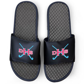 Field Hockey Navy Slide Sandals - Monogram with Field Hockey Sticks