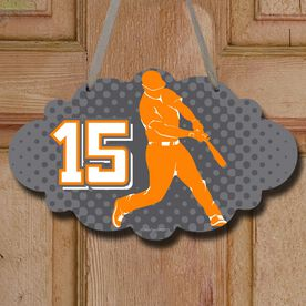 Baseball Cloud Sign Batter Silhouette with Dots Background