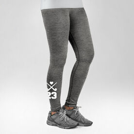 Field Hockey Performance Tights Crossed Sticks with Heart and Number