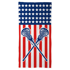 Girls Lacrosse Beach Towel USA Lax Girl