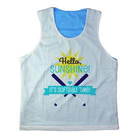 Girls Softball Racerback Pinnie Personalized Hello Sunshine It's Softball Time Teal
