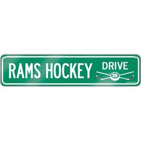 """Hockey Aluminum Room Sign Hockey Drive Custom Text (4""""x18"""")"""