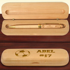 Personalized Soccer Ball Wood Pen and Case