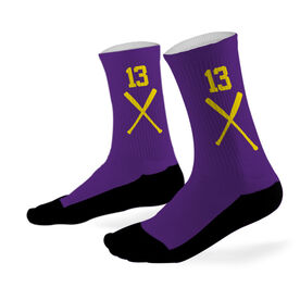 Baseball Printed Mid Calf Socks Baseball Bats Team Colors