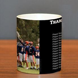 Lacrosse Ceramic Mug Thanks Coach Custom Photo With Team Roster