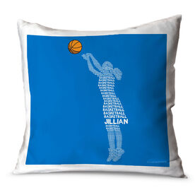 Basketball Throw Pillow Personalized Basketball Words Girl