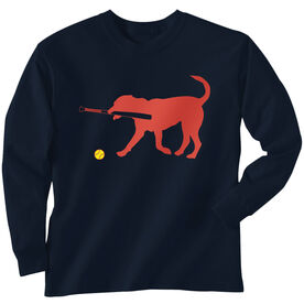 Softball Tshirt Long Sleeve Pitch The Softball Dog