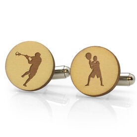 Guys Lacrosse Engraved Wood Cufflinks Silhouettes