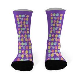 Running Printed Mid Calf Socks Easter Egg Pattern with Peeking Bunny