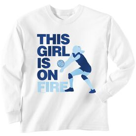 Volleyball T-Shirt Long Sleeve This Girl Is On Fire