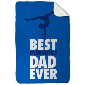 Gymnastics Sherpa Fleece Blanket Best Dad Ever