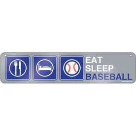 "Baseball Aluminum Room Sign Eat Sleep Baseball Icons (4""x18"")"