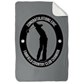Golf Sherpa Fleece Blanket Personalized Crest