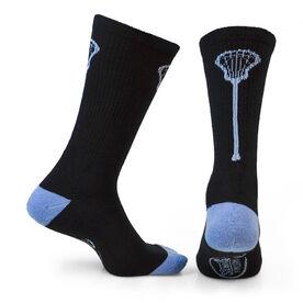Lacrosse Woven Mid Calf Socks - Single Stick (Black/Carolina Blue)