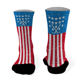 Hockey Printed Mid Calf Socks USA Stars and Stripes