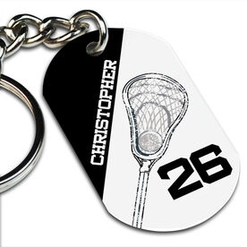 Lacrosse Printed Dog Tag Keychain Personalized Lacrosse Stick Head