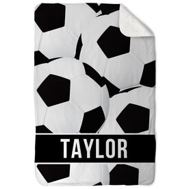 Soccer Sherpa Fleece Blanket Personalized Ball Pattern