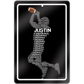 "Football 18"" X 12"" Aluminum Room Sign Personalized Football Words"