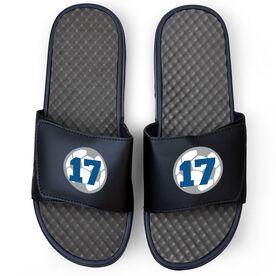 Soccer Navy Slide Sandals - Soccer Ball with Number
