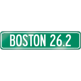 "Running Aluminum Room Sign Boston 26.2 (4""x18"")"