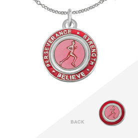 Runner's Creed Pendant Necklace - 1.5cm Pink/Red