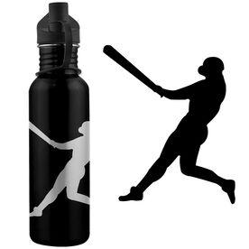 Baseball Player Silhouette 24 oz Stainless Steel Water Bottle
