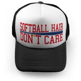 Softball Trucker Hat - Softball Hair Don't Care