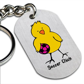 Soccer Chick Printed Dog Tag Keychain