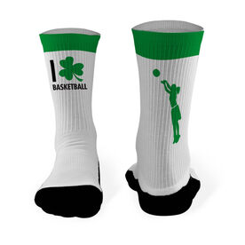 Basketball Printed Mid Calf Socks I Shamrock Basketball Girl