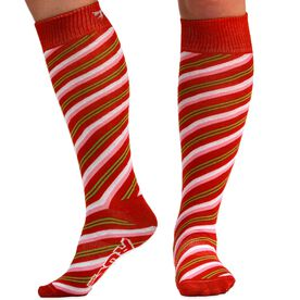 Woven Yakety Yak! Knee High Socks - Candy Cane With Bow