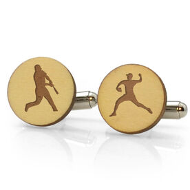 Baseball Engraved Wood Cufflinks Silhouettes
