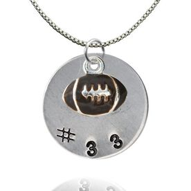 Sterling Silver Hand Stamped Pendant & Silver Plated and Enamel Football Necklace