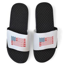 Crew White Slide Sandals - American Flag