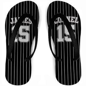 Baseball Flip Flops Personalized Jersey Stripes