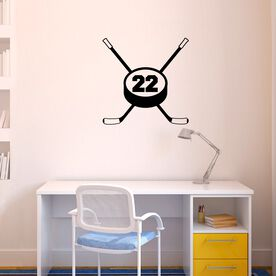 Personalized Hockey Crossed Sticks Removable ChalkTalkGraphix Wall Decal