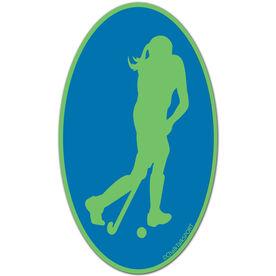 Field Hockey Girl Oval Car Magnet (Green/Blue)