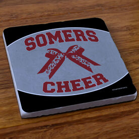 Cheerleading Stone Coaster Personalized Cheer Squad with Bow