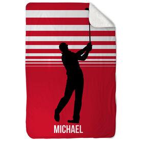 Golf Sherpa Fleece Blanket Swings And Stripes