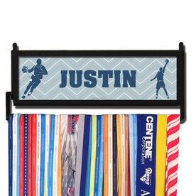 AthletesWALL Personalized Basketball Player Silhouette Guy with Zig Zag Background Medal Display