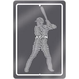 "Baseball Aluminum Room Sign Personalized Baseball Words (18"" X 12"")"