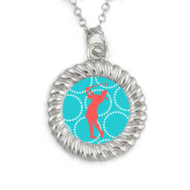 Braided Circle Necklace Golf Silhouette