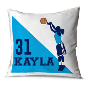 Basketball Throw Pillow Personalized Basketball Player Silhouette Girl