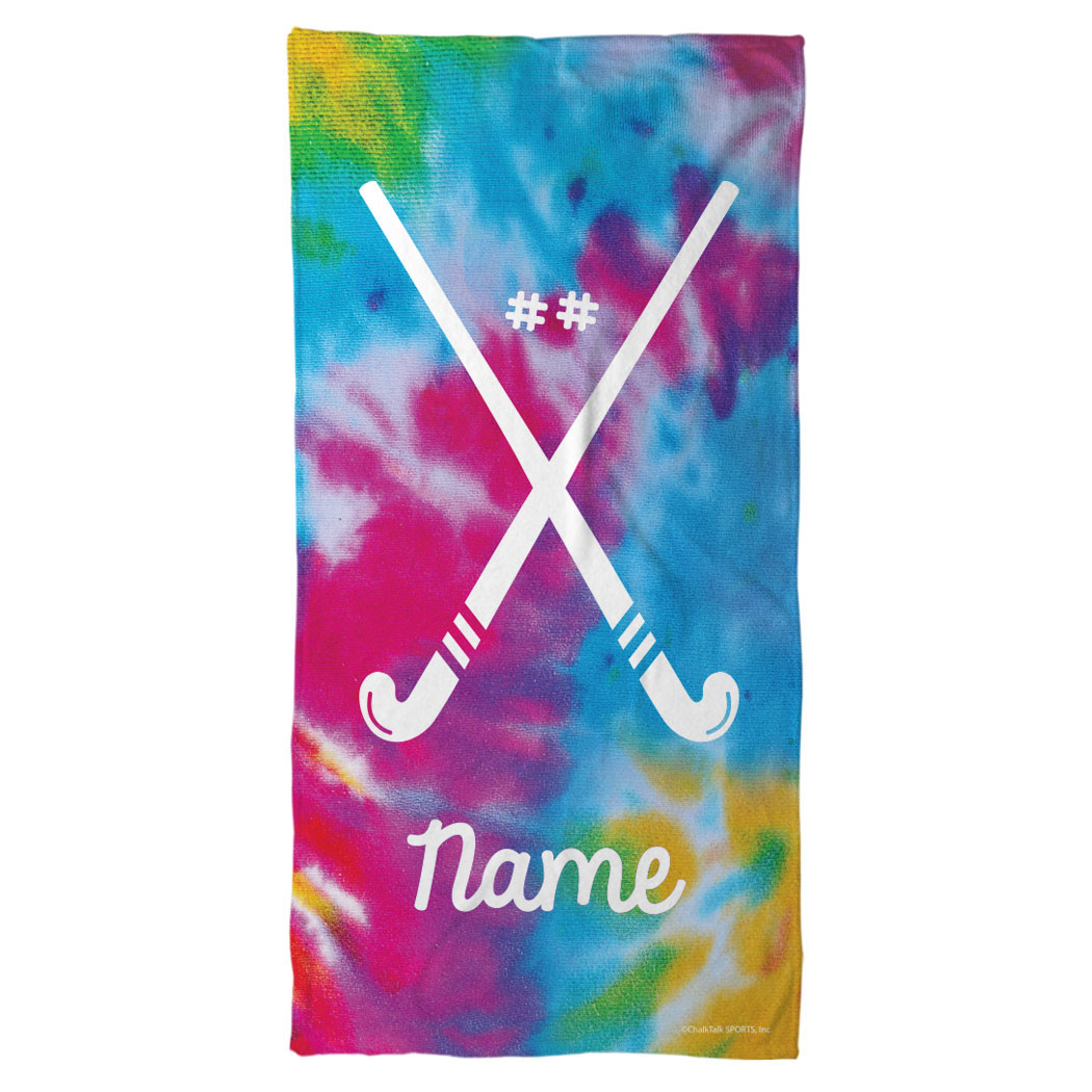 Personalized Hockey Towels: Field Hockey Beach Towel Personalized Tie Dye Pattern With