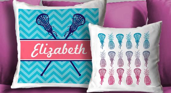 Girls Lacrosse Throw Pillows
