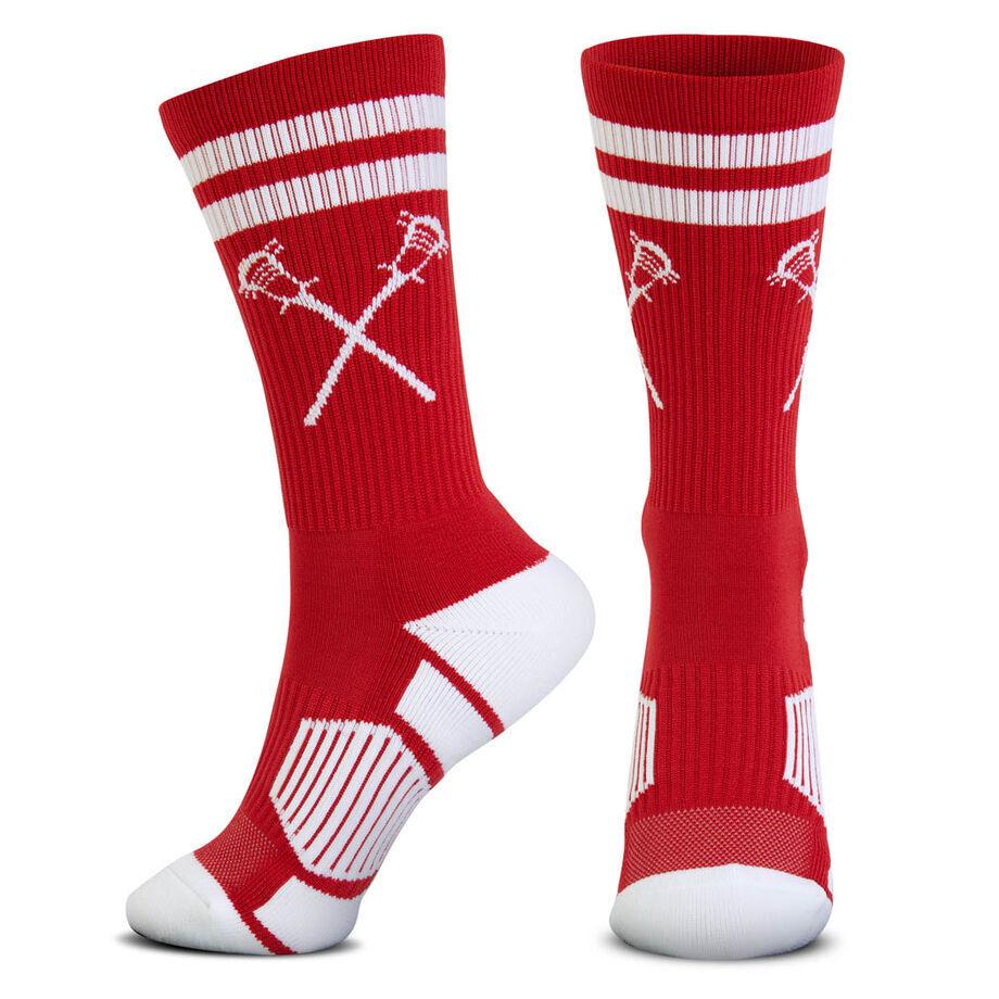 Guys Lacrosse Woven Mid-Calf Socks - Retro Crossed Sticks (Red/White)