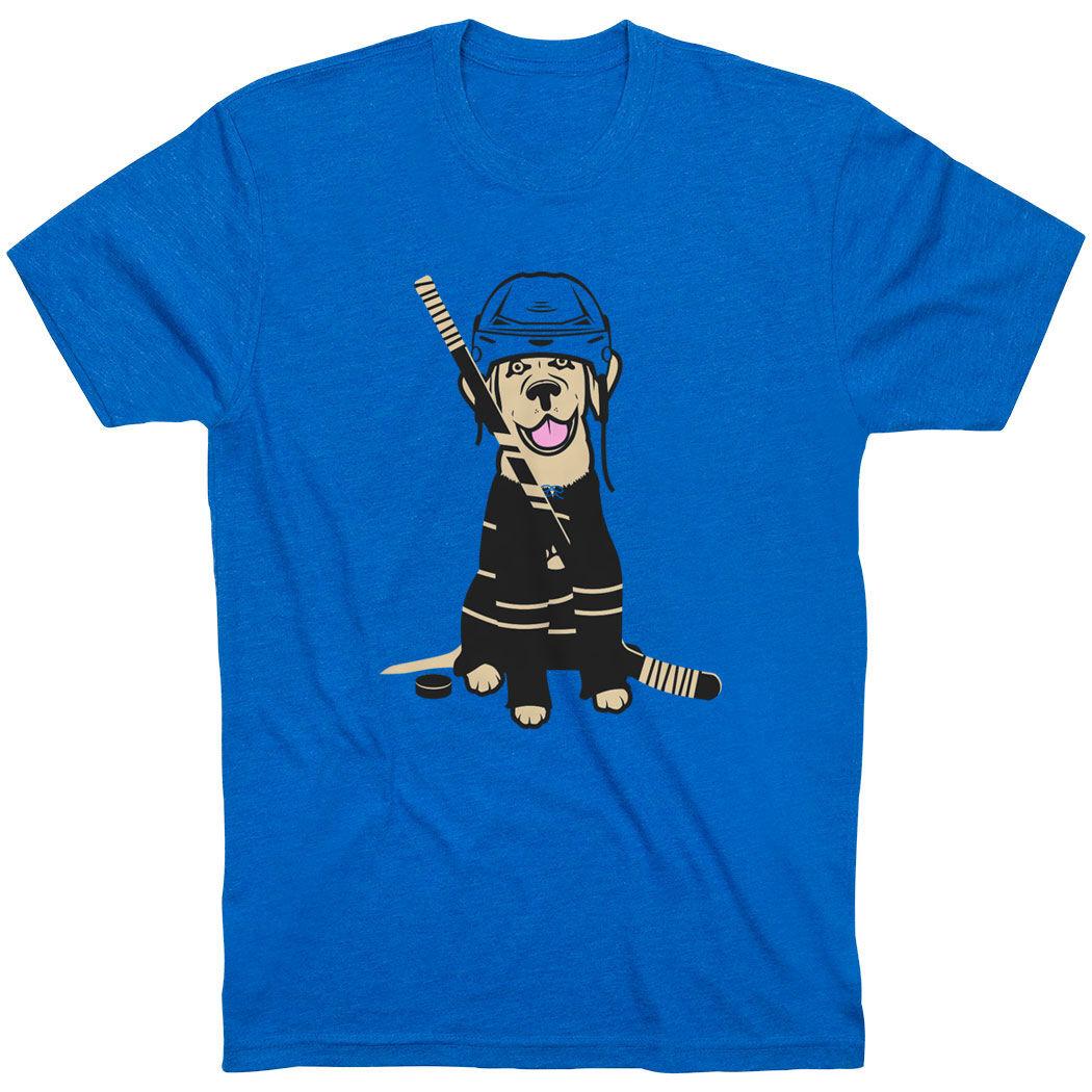 Hockey Short Sleeve T-Shirt - Hunter the Hockey Dog