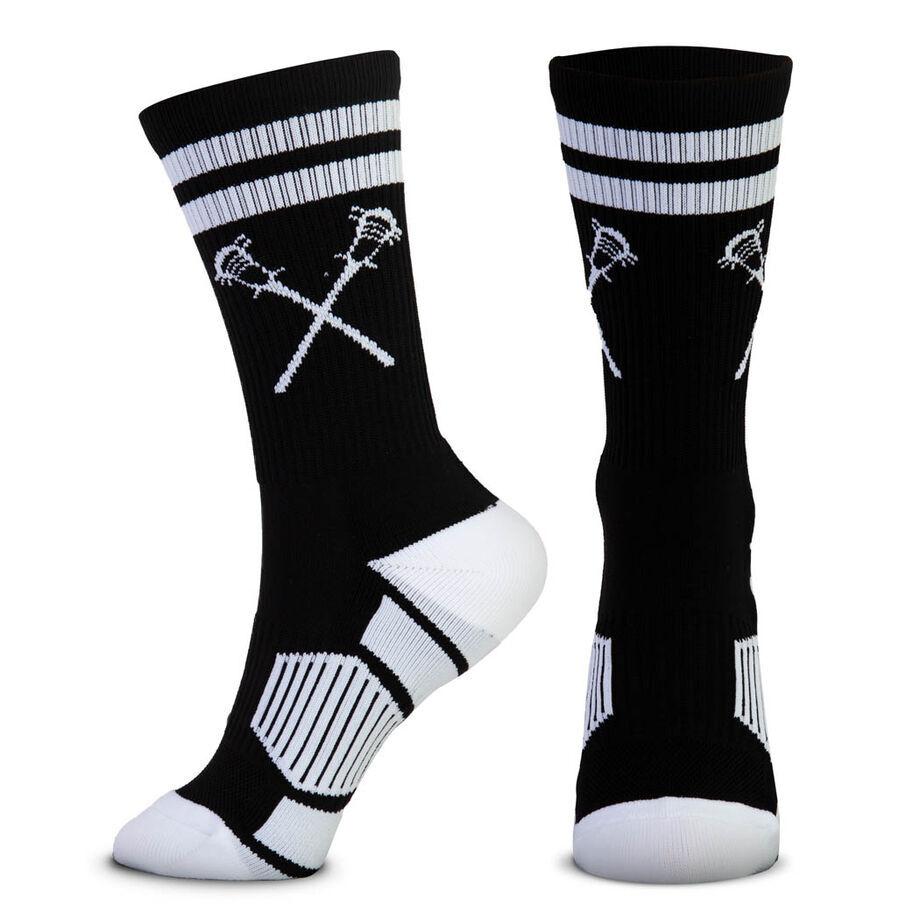 Guys Lacrosse Woven Mid-Calf Socks - Retro Crossed Sticks (Black/White)