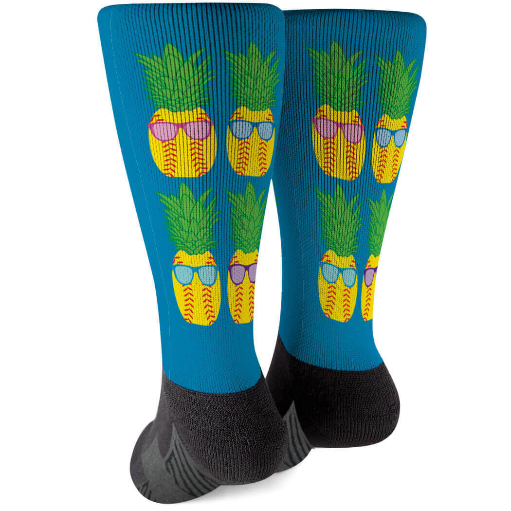 Softball Printed Mid-Calf Socks - Pineapples with Sunglasses