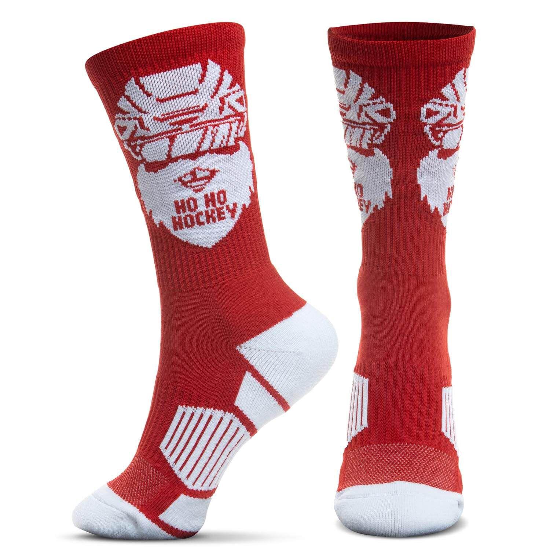 Hockey Woven Mid-Calf Socks - Ho Ho Hockey Santa
